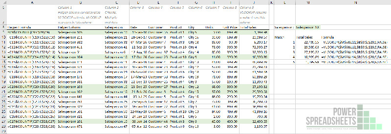 Example: Final VLOOKUP to return multiple values (with a helper column) formulas