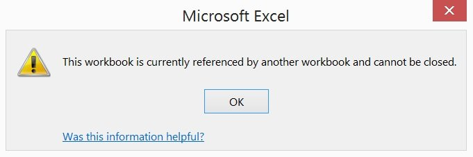 Excel warning when trying to close referenced workbook