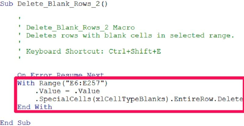 With...End With statement in macro to delete blank rows in Excel