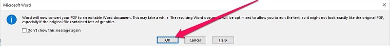 Word message before converting PDF