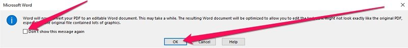 Word will now convert your PDF to an editable Word document