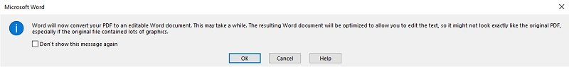 Word dialog box announcing PDF conversion
