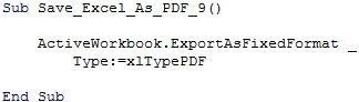 VBA code to export full workbook from Excel to PDF