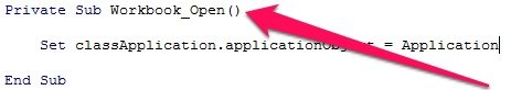 Private Sub Workbook_Open code