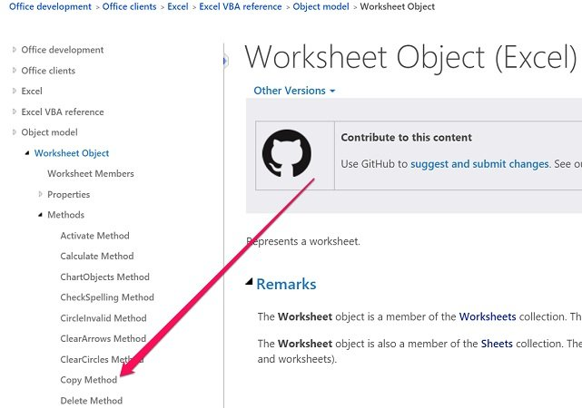 Access Worksheet.Copy method in MSDN