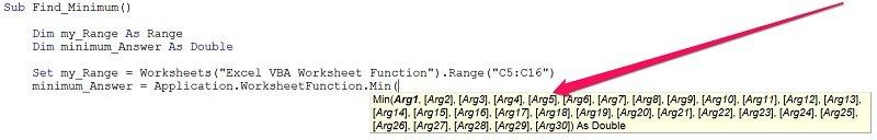 Worksheet function argument description in VBA
