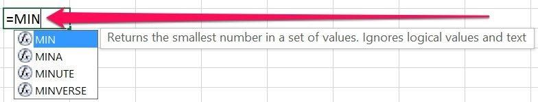 Excel worksheet formula with MIN function