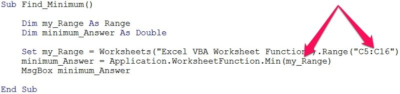 Worksheet function argument definition in VBA
