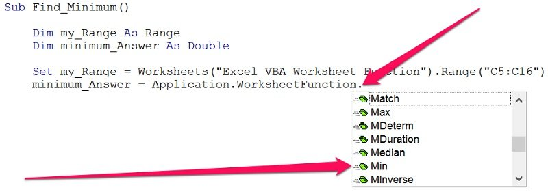 Excel worksheet function suggestions for use in VBA