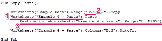 Sample macro code to copy and paste in Excel