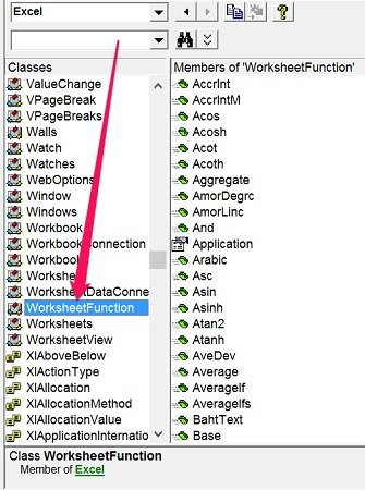 WorksheetFunction object in VBE Object Browser