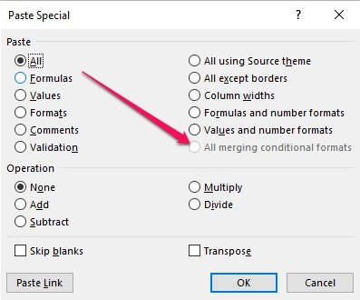 Paste Special dialog with Paste All merging conditional formats