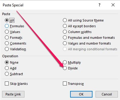 Divide option within Paste Special dialog