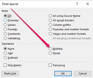 Multiply option within Paste Special dialog