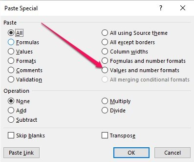 Paste Special dialog with Paste Values and number formats option